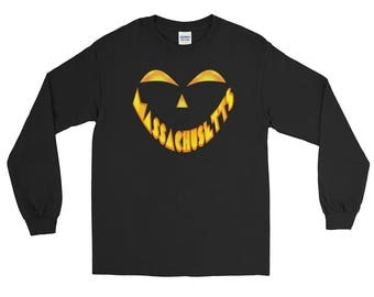 Massachusetts Jack O' Lantern Pumpkin Face Halloween Costume Long Sleeve Tee Shirt