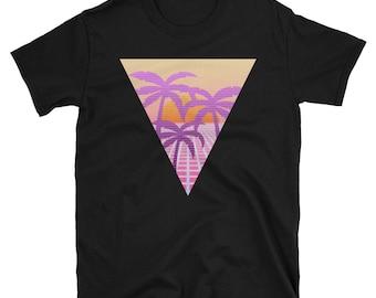 Retro Styled Eighties 80s Palm Tree Laser T-shirt