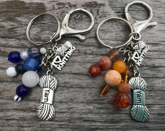Keychains for Women, Knitting Gift Idea, Knitting Gifts, Bag Charm, Purse Charm, Knitting Accessories, Beaded Keychain, Handbag Charm, Gift