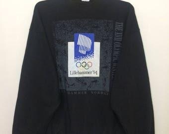 Vintage The XV11 Olympic Winter Games Lillehammer '94 Norway Sweatshirt Oversize