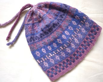 Fair Isle hat, hand knitted, wool, Heather tones