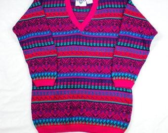 VTG Colorful Graphic Print Ski Sweater