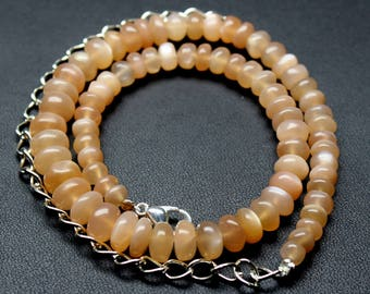 """Natural Pitch Moonstone Round Beads Strand Necklace. 95 Carats, 11"""" Inches Strand, Size- 5 to 7 MM Approx Code-HN09"""