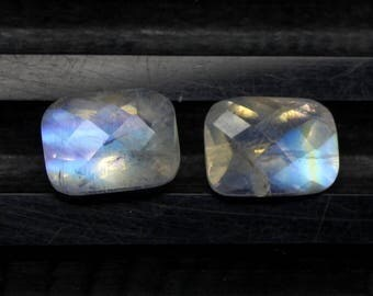 Amazing Rare Natural Rainbow Moonstone Blue Flash fire Size 7x9 MM Approx 2 PCs Pair Faceted Checker Cushion Rainbow Code- HR26