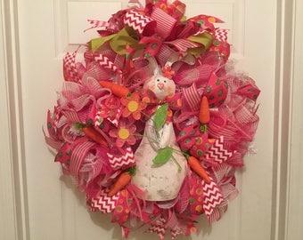 Sweet bunny wreath, Easter bunny wreath, pink bunny wreath, pink deco mesh bunny wreath