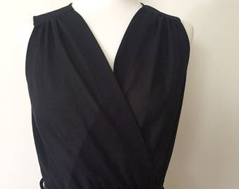 Classic 80's little black dress with pleated skirt Size 10