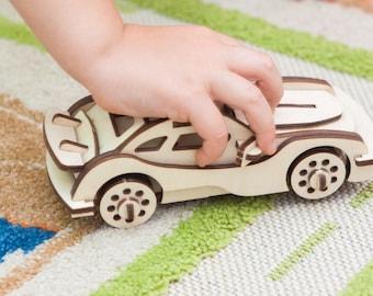 Porshe Model,Wooden Puzzle,Construction toys,Wooden Toys,Stacking Toy,Wooden model,Boys Room decor,Construction puzzle,Car model