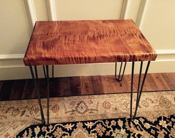 Curly Maple End Table with Steel Hairpin Legs