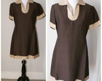 Vintage 1960s Mod Brown Short Dress