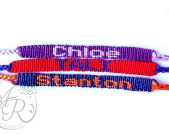 Custom Name Friendship Bracelet, Choose Your Own Colors
