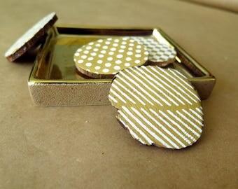 "Wood Fridge Magnets, 4 Patterns (4 Count / 2"")"