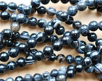 8mm Black Hawkeye Agate, full strand, natural stone beads, round, 80119