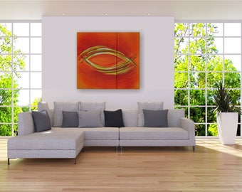 "Large acrylic painting on canvas 110x100x1, 8 cm (44 ""x40""), abstract ""Ichthys"" by VictoriasFineArt"