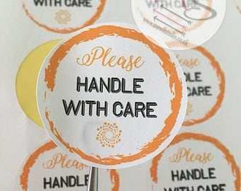 24 Please Handle with Care Stickers,  Perfect for parcels, packages, letters, Small Business, Order, Labels, Stickers, Envelope