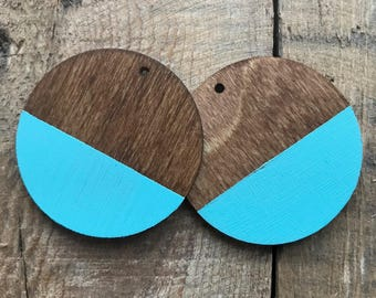 Circle wooden earrings TURQUOISE