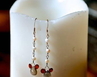 Sterling Silver Wire-Wrapped Earrings -- white pearl, garnet & labradorite