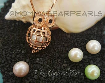 Rose Gold Owl with 2 Pearls