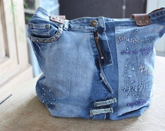 Handmade, recycled jeans tote bag