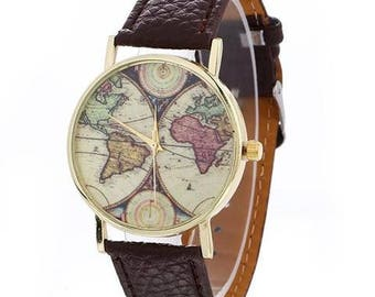 Vintage World Map Watch, Map watch, Casual Vintage wristwatch, Leather Strap unisex watch, Classic, globe, Old map,