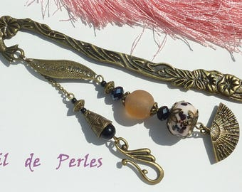 "Large bookmark bronze jewel ""Retro fan"""