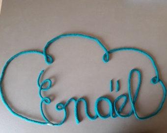 Prénom en tricotin nuage