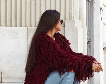 handmade hairy fringed coat