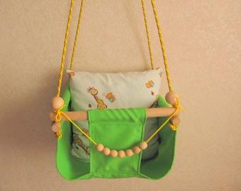 Baby Swing/ Green Swing/Nursery Swing/ Indoor Swing/Outdoor Swing/ Hammock Swing/Fabric Swing/Textile