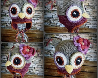 Funky colours owl hat