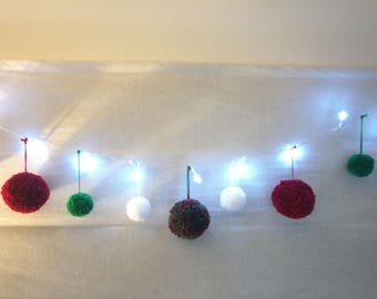 Star Shaped Lights Christmas Decoration Pompom Garland Bunting