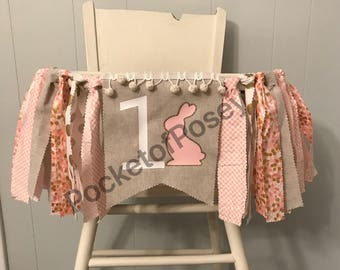 Bunny Birthday Banner somebunny turns one Bunny High chair banner pink and gold birthday