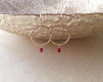 Ruby earrings/ gemstone earrings/ hammered gold earrings/ ruby and gold earrings