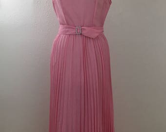 Women's Vintage Formal Gown- Pink Floor Length 70's Special Occasion Dress
