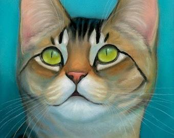 Green Eyed Tabby Cat Original Pastel Painting