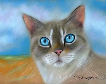 Blue Eyed Tabby Cat Pastel High Glossy Fine Art Print