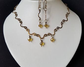 Necklace and Earring Set - Vintage Bronze Wire Work