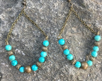 Turquoise and Bronze Bead and Chain Earrings / Handmade