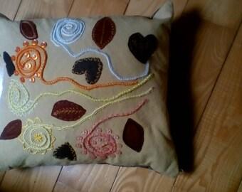 wool applique cushion autumn floral folk art