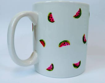 Hand painted watermelon print design mug