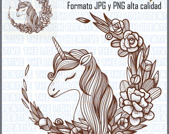 SALE-head unicorn png-unicorn Face-png unicorn Vintage