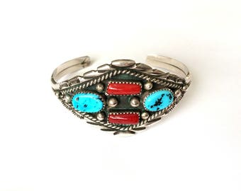 Vintage Sterling Silver Native American Navajo Natural Turquoise & Coral Cuff Bracelet