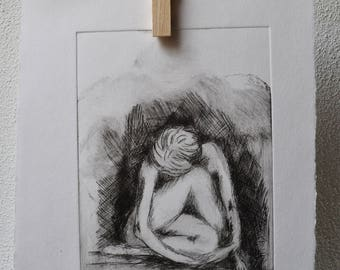 """Cold needle etching """"silence"""""""