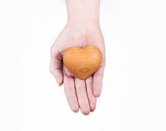 Small hand carved wooden ashes heart- Eva