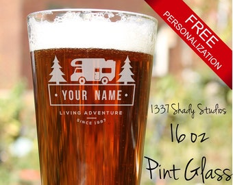 PERSONALIZED Camper RV Logo Pint Glass - Custom Made Laser Engraved RV Themed Glassware - Laser Etched and Hand Finished - Caming Design 5
