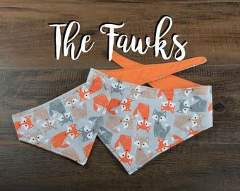 The Fawks - Dog Bandana - Tie Up Bandana - Over the Collar Bandana - Double Sided Dog Bandana