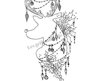 Mandala Christmas coloring and print yourself - Queen - mandala - zentangle - handmade - relaxation - Christmas-
