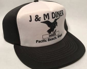 J & M Diner Trucker Hat Vintage  Snapback Black Bird Cap 2338