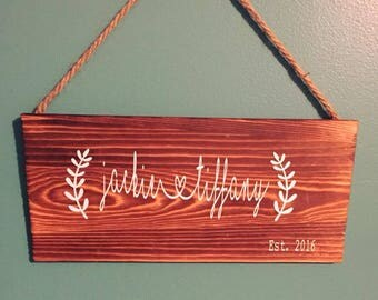 Couple Wooden sign, Wedding gift, Couple Sign, Anniversary Sign, Hanging Wall Art, Engagement Sign, Newlywed Gift