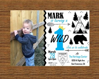 Wild One Invite for Boy Birthday/Baby Shower