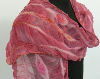Dusky Pink Nuno Felt Merino & Silk Scarf