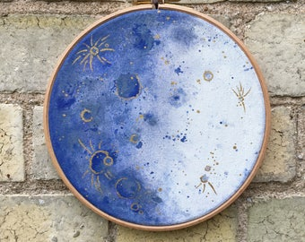 Handpainted Blue and Gold Moon Decor Hoop Wall Art Hanging